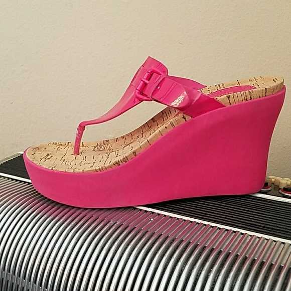 cddaad4a94d KORS Michael Kors Shoes - NWOT-MICHAEL KORS HOT PINK WEDGE THONG SANDALS